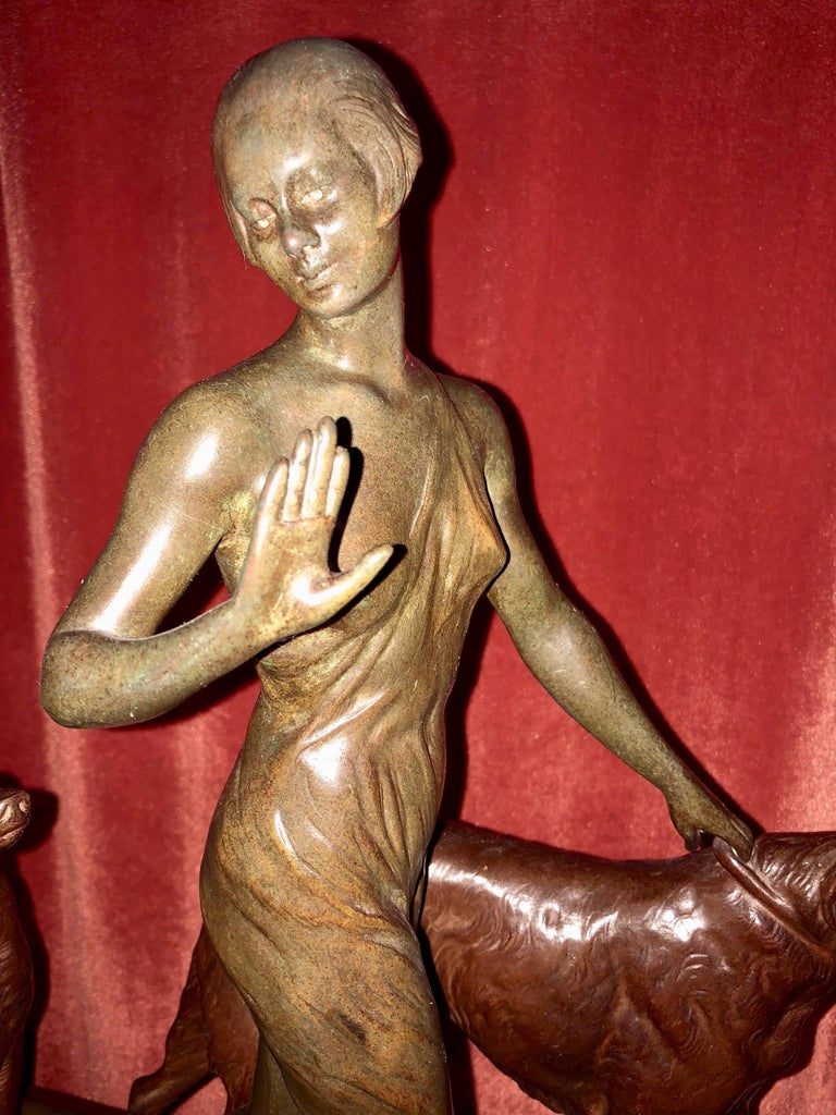 Louis Riche Art Deco Cold Painted Bronze Statue, circa 1930 In Excellent Condition In Oakland, CA