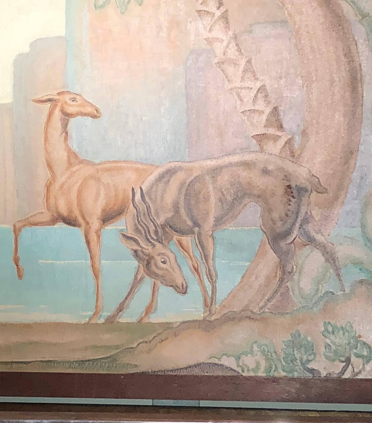 In the style of Jean Dupas, this original stunning Art Deco painting – mural was purchased in Bordeaux, France the town where Dupas lived and worked. We feel certain that this was painted by a colleague, student or Dupas himself. Jean Dupas is one