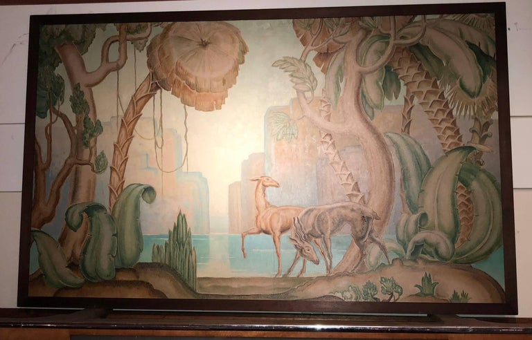 Mid-20th Century Art Deco Original Painting Mural in the Style of Jean Dupas For Sale