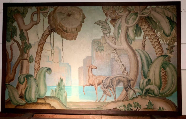 French Art Deco Original Painting Mural in the Style of Jean Dupas For Sale
