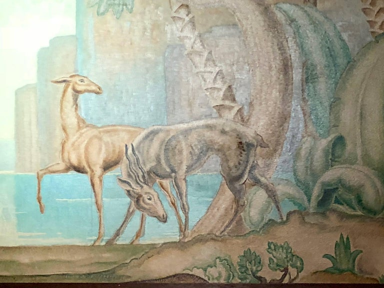 Art Deco Original Painting Mural in the Style of Jean Dupas For Sale 2