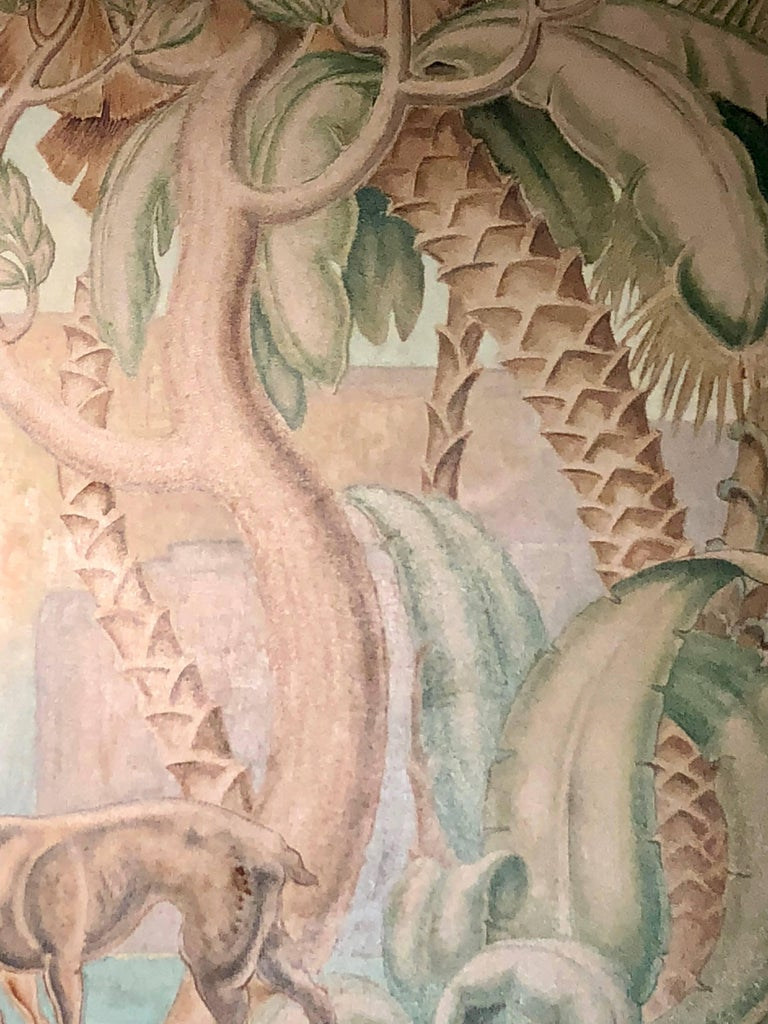 Art Deco Original Painting Mural in the Style of Jean Dupas For Sale 1