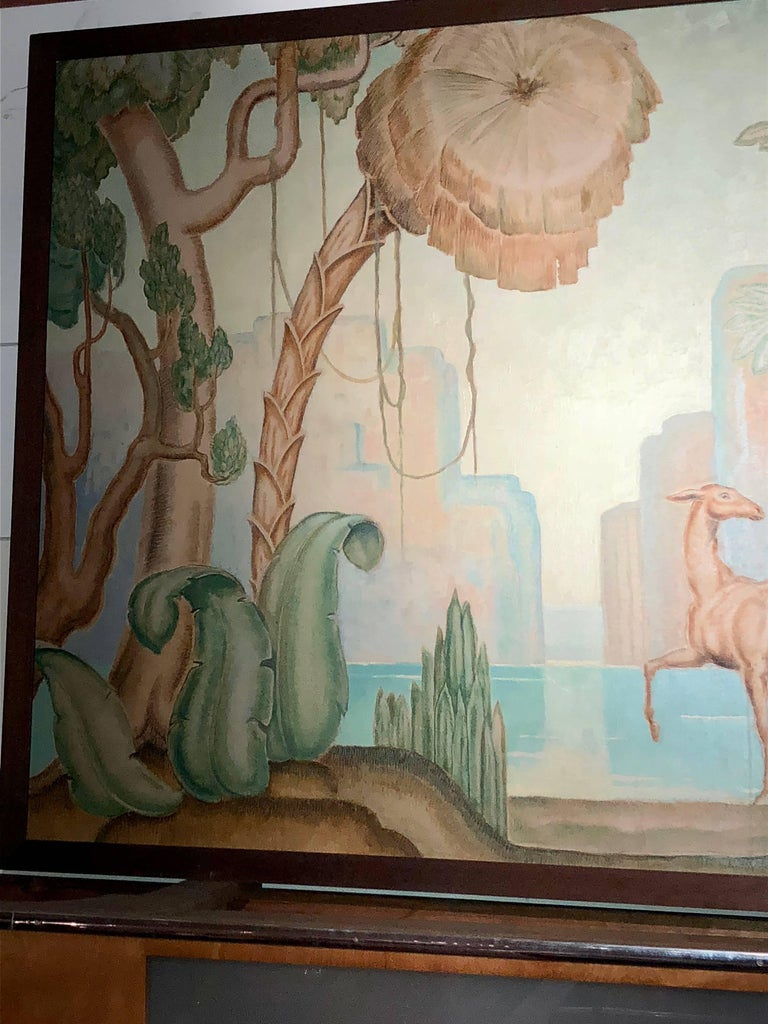 Art Deco Original Painting Mural in the Style of Jean Dupas In Excellent Condition For Sale In Oakland, CA