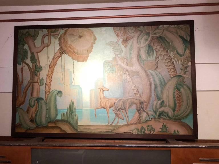 Art Deco Original Painting Mural in the Style of Jean Dupas For Sale 3