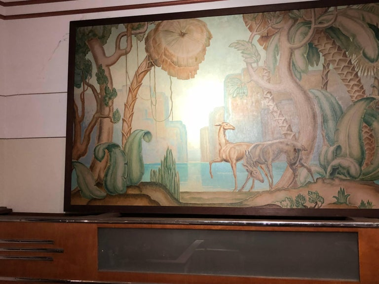 Art Deco Original Painting Mural in the Style of Jean Dupas For Sale 4