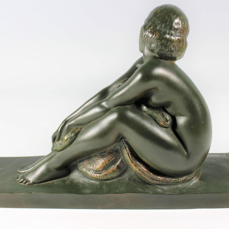 Art Deco French Bronze Seated Nude by Amedeo Gennarelli, circa 1925 Statue For Sale 2