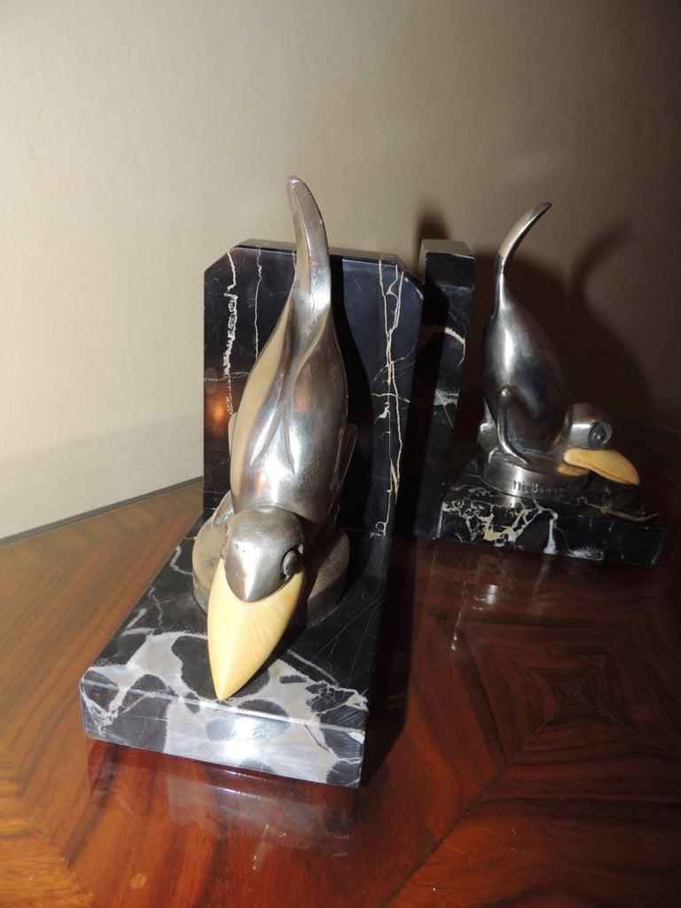 Marcel Bouraine Art Deco Bronze Bird Bookends For Sale 4