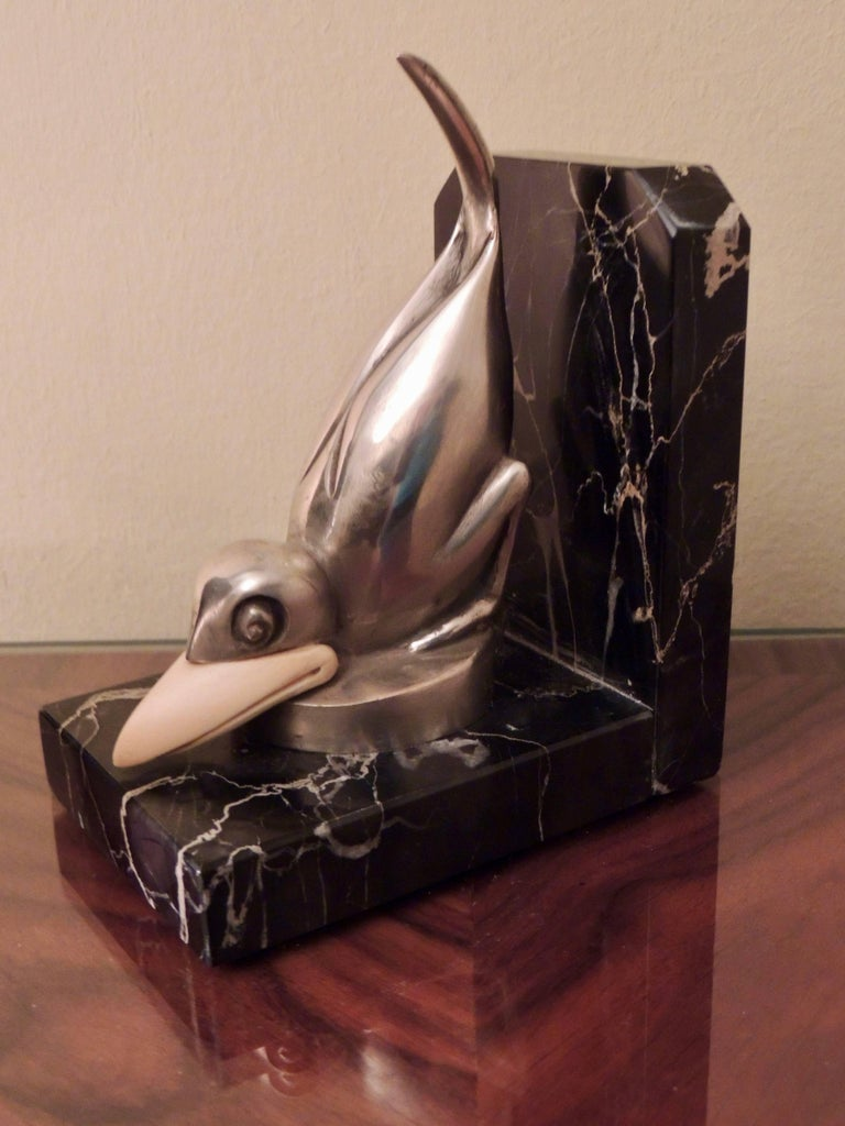Marcel Bouraine Art Deco Bronze Bird Bookends For Sale 2