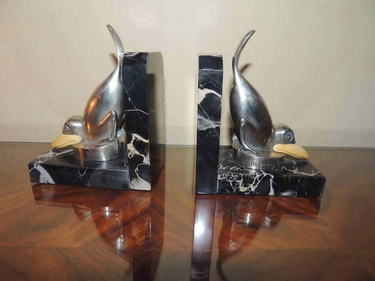 Marcel Bouraine Art Deco Bronze Bird Bookends In Excellent Condition For Sale In Oakland, CA