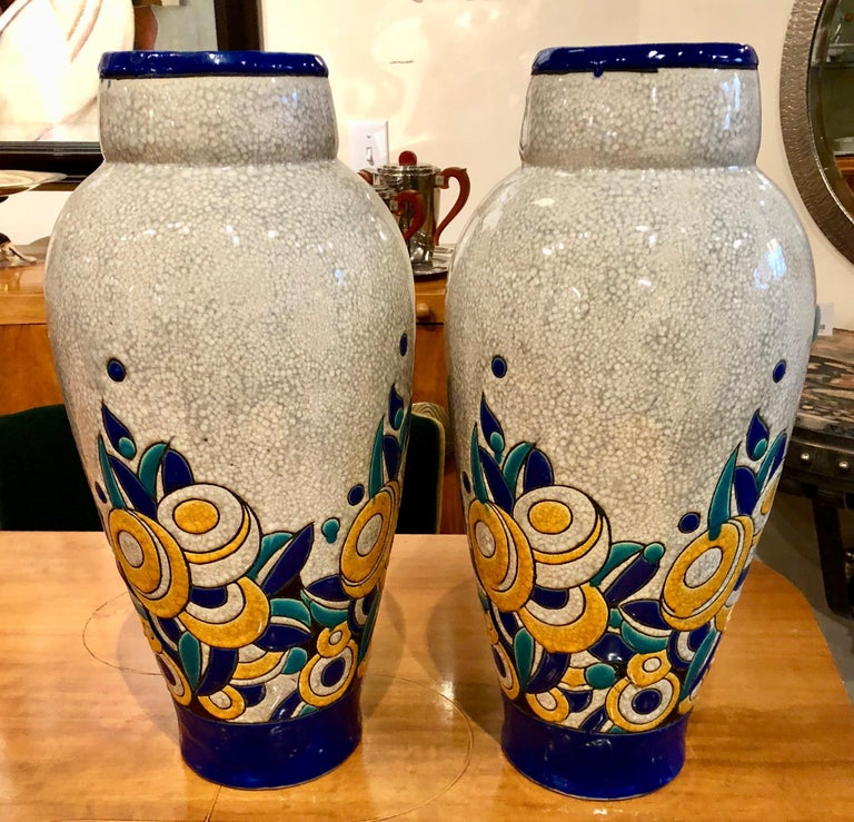Belgian Charles Catteau Boch Ceramic Large Matching Pair of Floral Art Deco For Sale