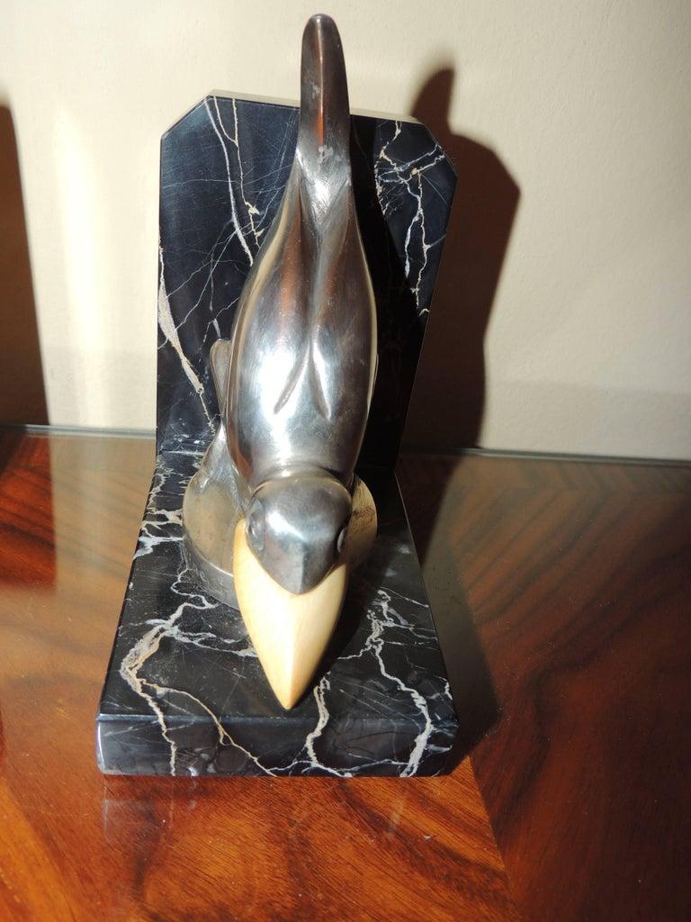 Marcel Bouraine Art Deco Bronze Bird Bookends For Sale 1