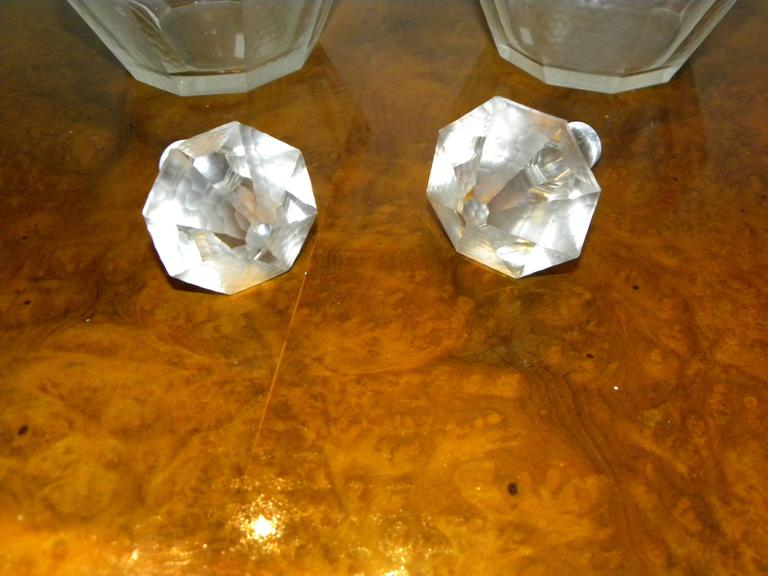 Pair of French Art Deco Glass Decanters For Sale 1