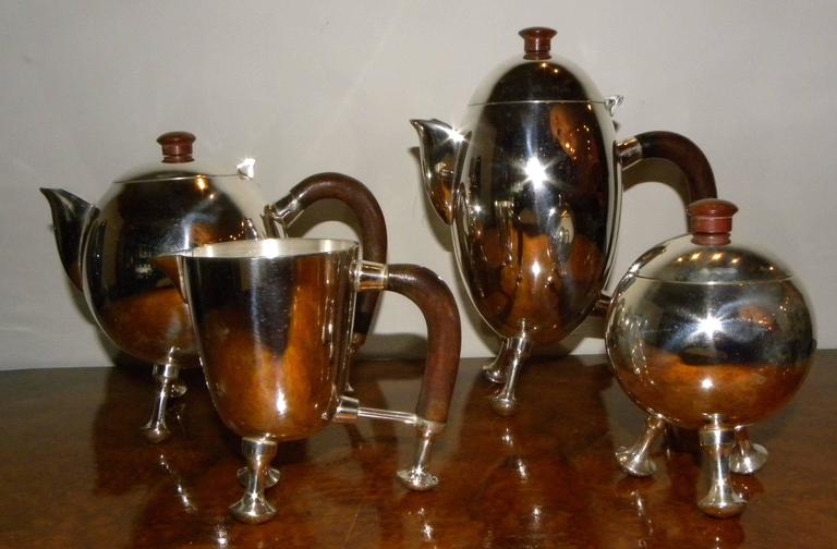 Silver Art Deco Midcentury Tea and Coffee Service Set For Sale 3