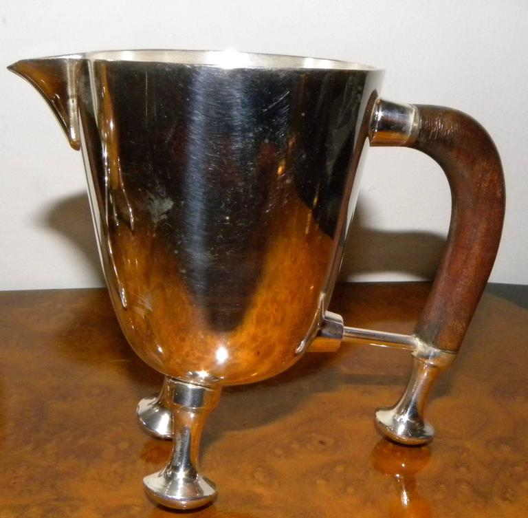 Mid-20th Century Silver Art Deco Midcentury Tea and Coffee Service Set For Sale