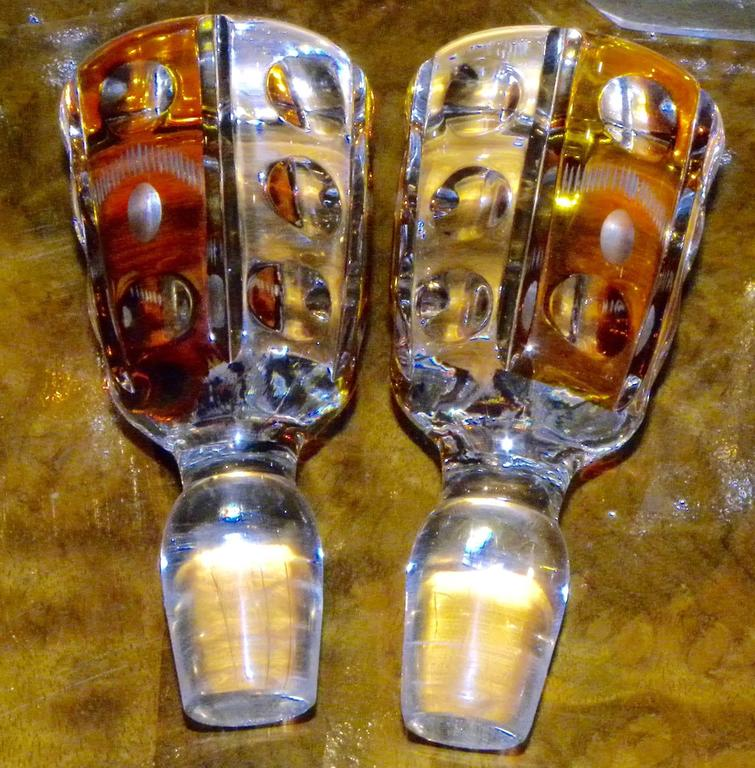 Amboyna Art Deco Tantalus Set with Cut Crystal Decanters For Sale