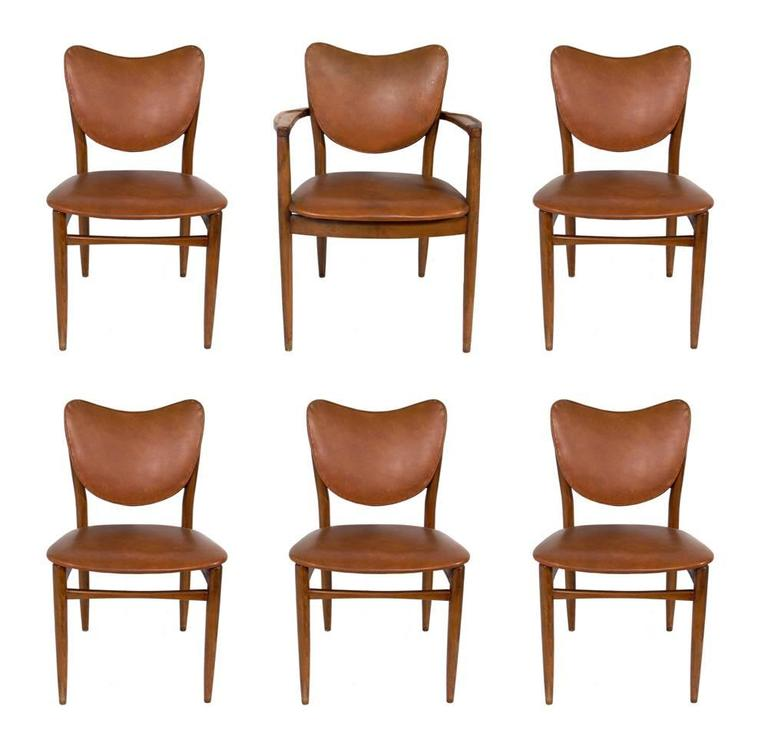 Set of Six Danish Modern Dining Chairs in the Manner of Finn Juhl