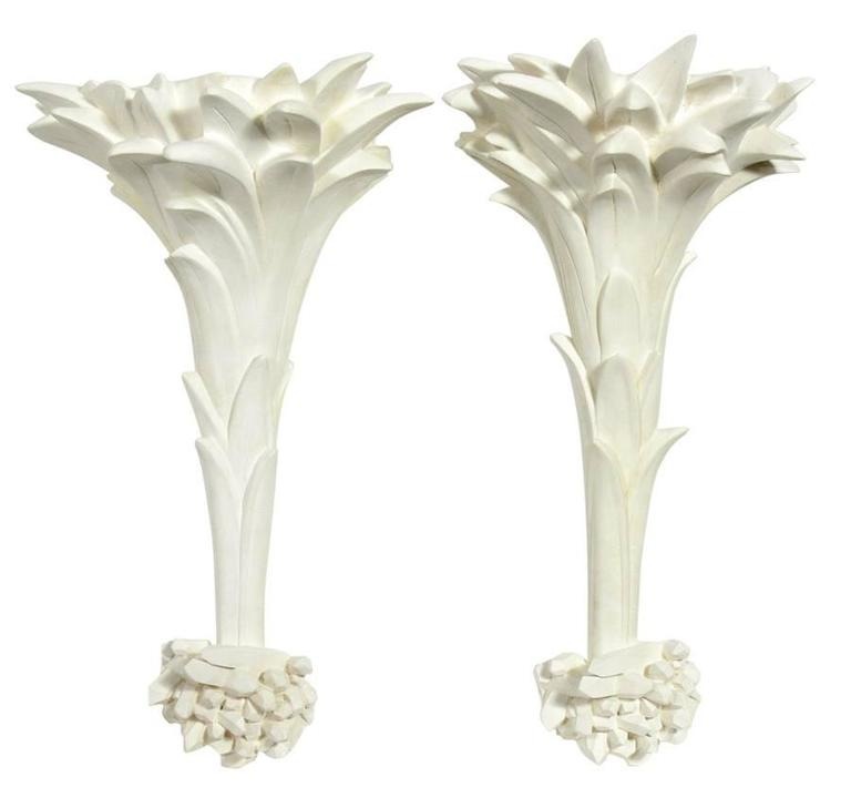Pair of White Plaster Sconces in the Manner of Serge Roche at 1stdibs