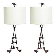 Pair of French Pussy Willow Form Lamps