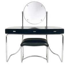 Art Deco Black and Chrome Vanity Attributed to Marcel Breuer