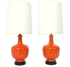 Pair of Vibrant Orange Ceramic Lamps