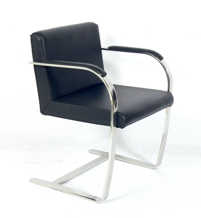 Set of six Brno chrome dining chairs after Mies van der Rohe, American, circa 1970s. These chairs are currently being reupholstered and can be completed in your fabric. The price noted below includes upholstery in your fabric.