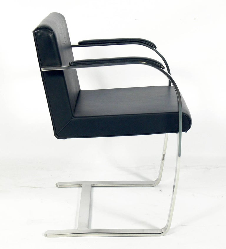 Mid-Century Modern Set of Six Brno Chrome Dining Chairs After Mies Van Der Rohe For Sale