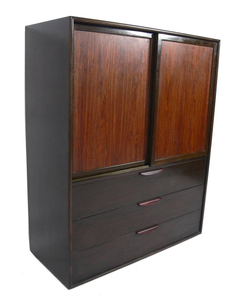 American Tall Rosewood Chest of Drawers Designed by Harvey Probber For Sale