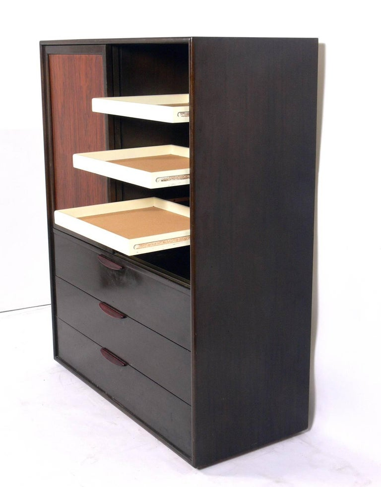 Lacquered Tall Rosewood Chest of Drawers Designed by Harvey Probber For Sale
