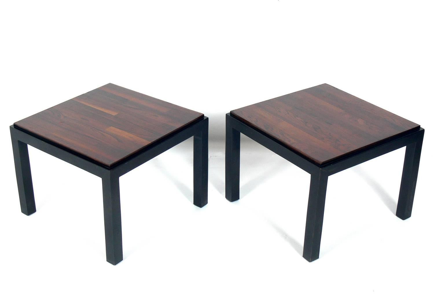 Pair Of Rosewood And Black Lacquer End Tables, Designed By Milo Baughman  For Thayer Coggin