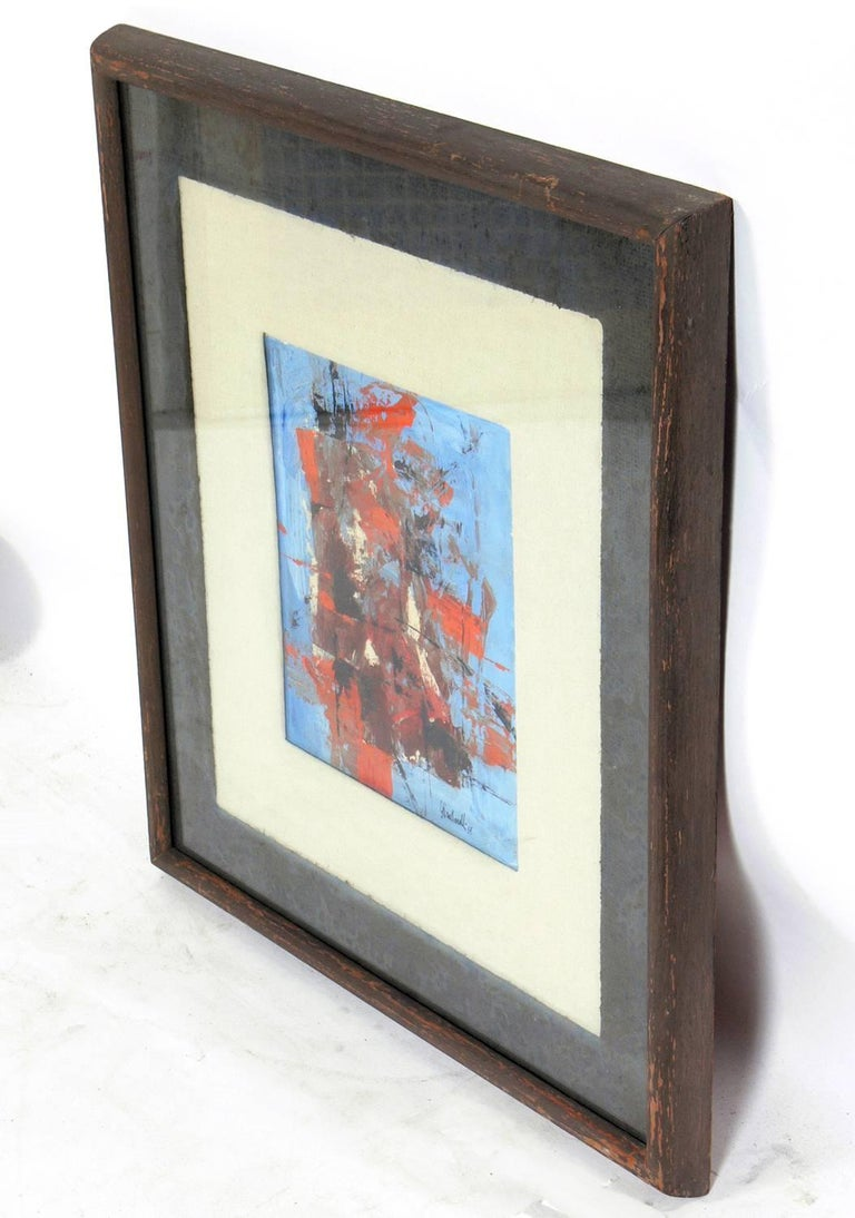 Midcentury abstract painting by Arnold Taraborrelli, American, circa 1959. It is entitled