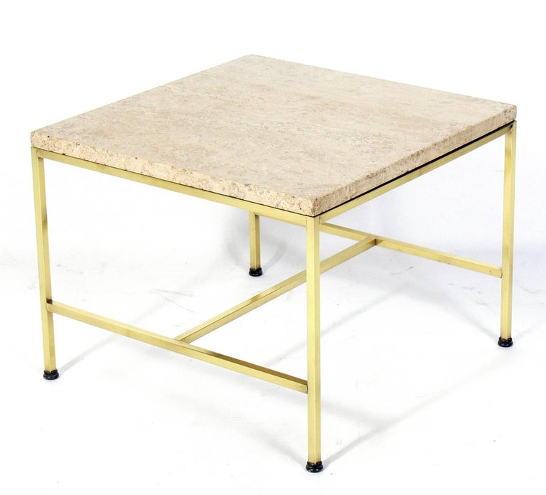 American Brass and Travertine Side Table by Paul McCobb For Sale