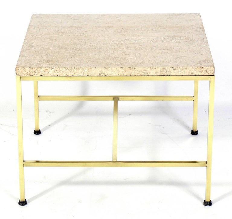 Brass and Travertine Side Table by Paul McCobb In Good Condition For Sale In Atlanta, GA