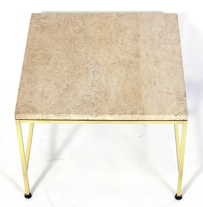 Mid-Century Modern Brass and Travertine Side Table by Paul McCobb For Sale