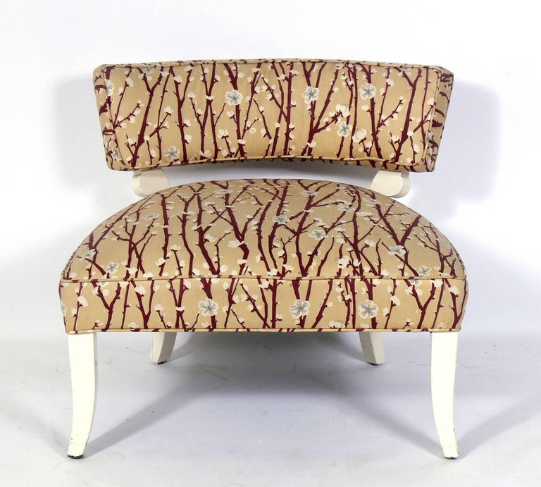 Pair ofelegant slipper chairs in the manner of Billy Haines, American, circa 1940s. These chairs are currently being refinished and reupholstered and can be completed in your choice of finish color and in your fabric. The price noted below includes
