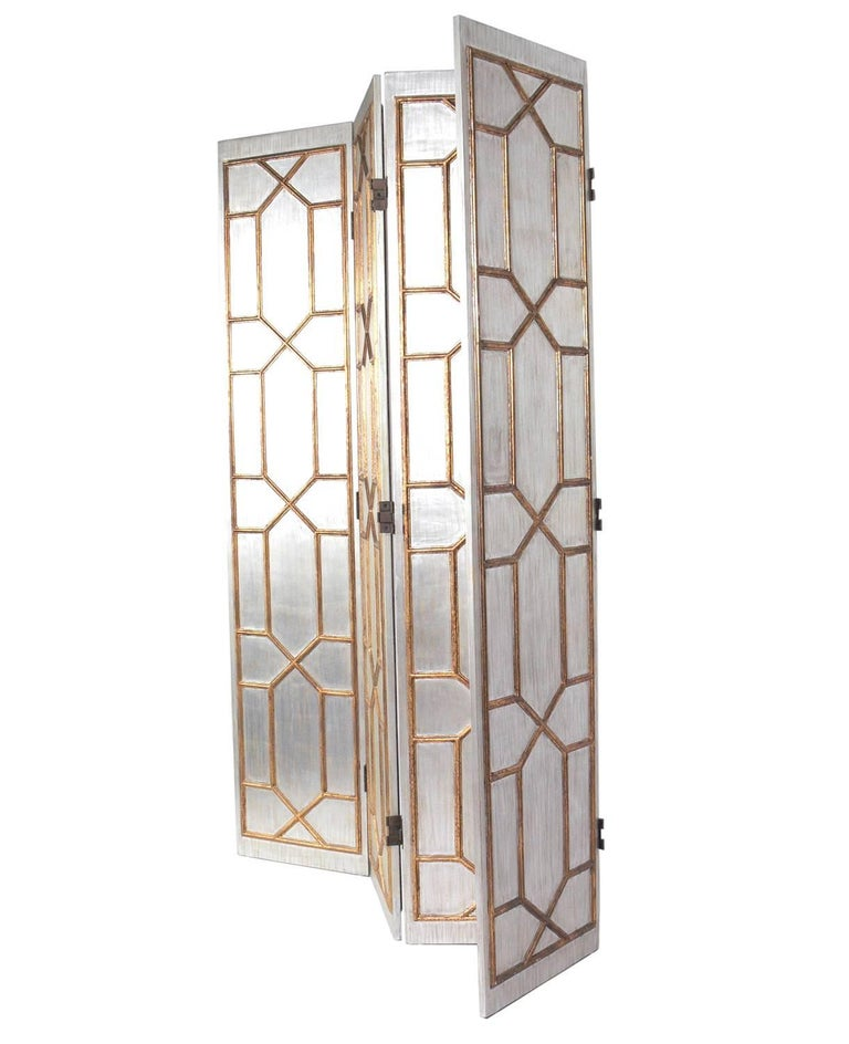Mid-20th Century Glamorous Silver and Gold Gilt Folding Screen For Sale