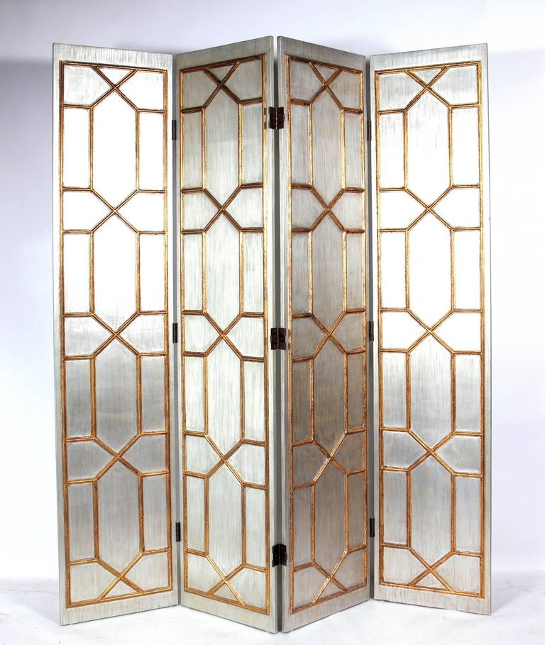Glamorous Silver and Gold Gilt Folding Screen In Good Condition For Sale In Atlanta, GA