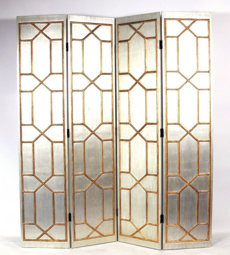 American Glamorous Silver and Gold Gilt Folding Screen For Sale