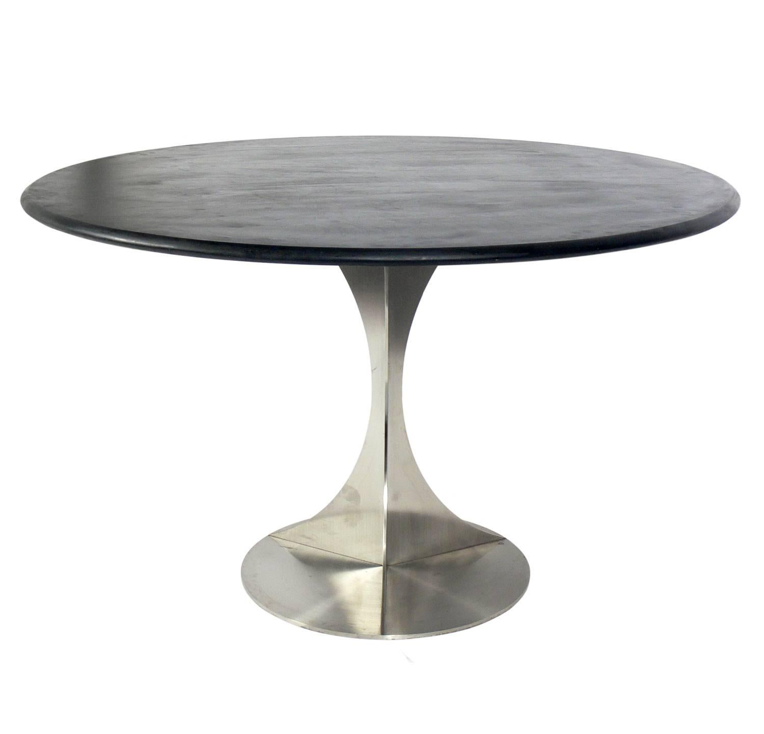 Stainless Steel And Slate Dining Table In The Manner Of Maria Pergay