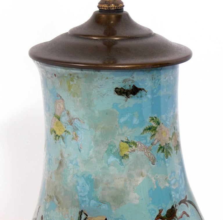 Pair of Robin's Egg Blue Asian Influenced Lamps  In Good Condition For Sale In Atlanta, GA