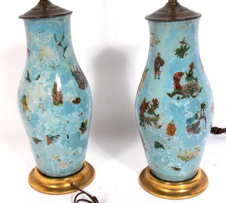 American Pair of Robin's Egg Blue Asian Influenced Lamps  For Sale