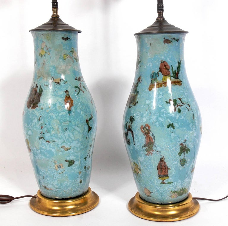 Hollywood Regency Pair of Robin's Egg Blue Asian Influenced Lamps  For Sale