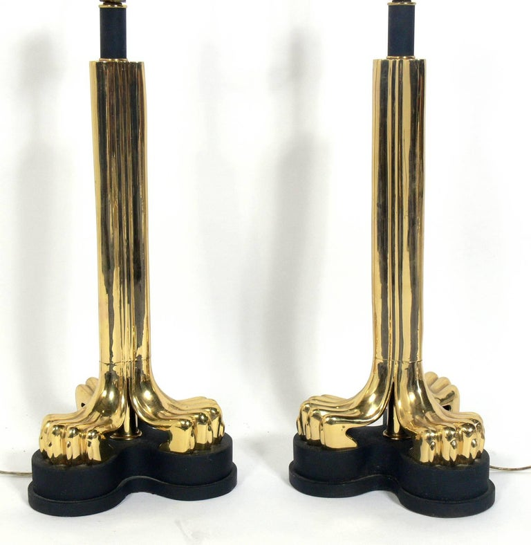 Mid-Century Modern Pair of Zoomorphic Brass Lamps For Sale