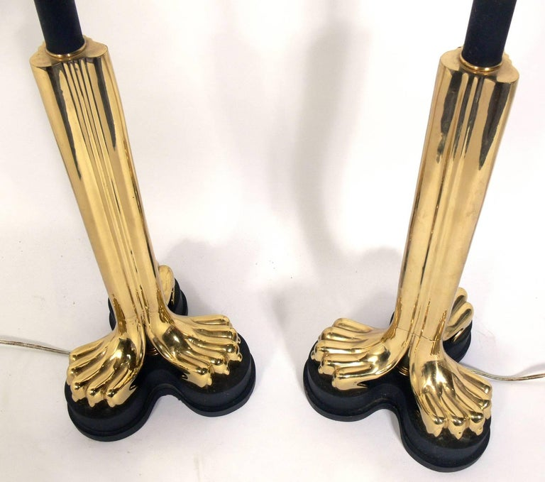 American Pair of Zoomorphic Brass Lamps For Sale