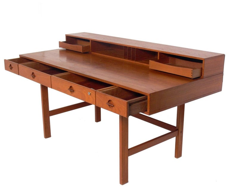 Clean Lined Architectural Danish Modern Desk By Jens