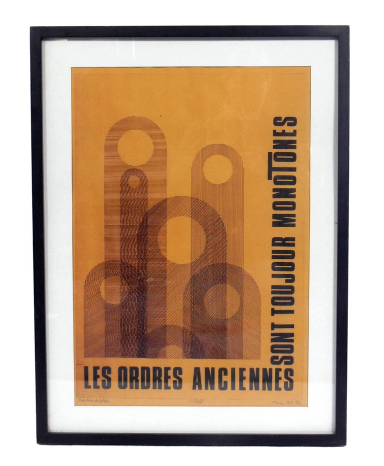 Selection of Modern Art or Gallery Wall They are: 1) Les Ordres Anciennes lithograph, illegibly signed and numbered, Mexican, circa 1960s. This work is seen on the top left, it measures 25