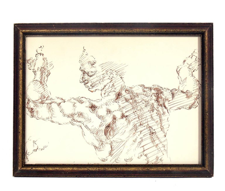 Glass Selection of Figural Nude Drawings or Gallery Wall For Sale