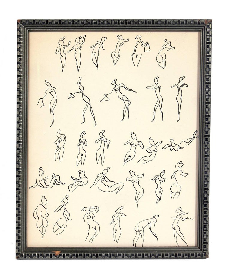 Selection of figural nude drawings, circa 1930s-1950s. Perfect to start or add to your gallery wall. All are priced at $475 each. They are: Top row, from left to right: 1) Figural line drawings, by Miriam Kubach, circa 1950s. It measures 11