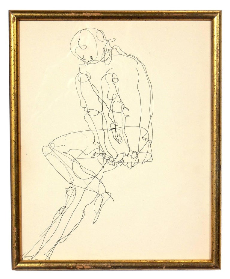 Selection of Figural Line Drawings or Gallery Wall by Miriam Kubach, American, circa 1950s. Please see our other 1stdibs listings for more Miriam Kubach works.   From left to right, these works measure: 1) 13