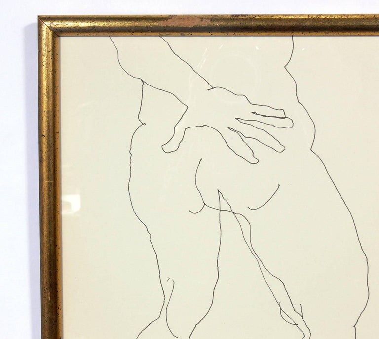 Selection of Figural Line Drawings or Gallery Wall by Miriam Kubach For Sale 1