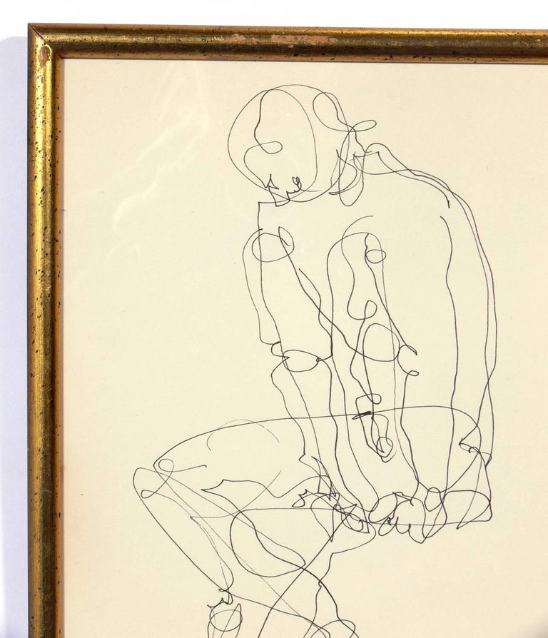 Mid-Century Modern Selection of Figural Line Drawings or Gallery Wall by Miriam Kubach For Sale
